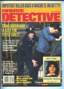 INSIDE DETECTIVE-07/1985-SNOWBIRD'S-SLAUGHTER-MACHETE-RAPIST VG/FN