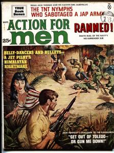 Action For Men 9/1963-Atlas-Exploitation-cheesecake-WWII-belly dancers