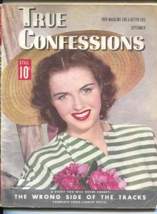 True Confessions 9/1945-pin-up girl photo cover-exploitation-spicy pulp thril...
