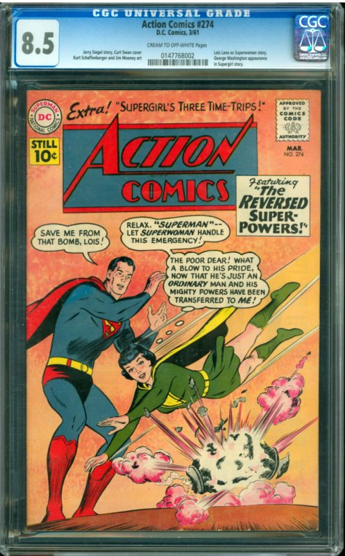 Action Comic #274 CGC Graded 8.5 Lois Lane as Superwoman story. George Washin...