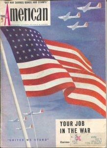 American Magazine 8/1942-American Flag cover-pulp fiction-classic car ads-Fai...