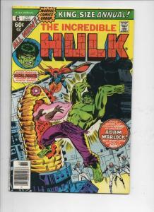 HULK #6 King Size, FN, Bruce Banner, Incredible, Warlock, Dr Strange, 1977