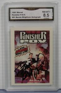 BERNIE WRIGHTSON AUTOGRAPH1991 Marvel Punisher POV Card #91 Graded NM-MT+ 8.5