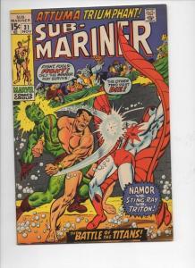 SUB-MARINER #31, VF, Buscema, Sting Ray, Triton, Attuma, 1968 1970,more in store