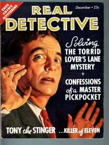 REAL DETECTIVE-1935 DEC-PULP TRUE CRIME-ORIENTAL OPIUM SMUGGLERS-LIE DETECT VF