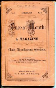 Once A Month Magazine 11/1867-pulp format-post Civil war-rare-VG