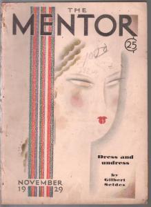 Mentor 11/1929-Sudaka art deco cover-WWI posters-Lowell Thomas-G/VG