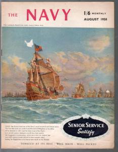Navy 8/1958-Historic pix & info on British Navy-VG