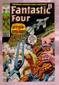 FANTASTIC FOUR #114 1971- THE TORCH-THING-BLACK COVER VF
