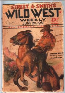WILD WEST WEEKLY-6/20/1931-PULP-BUD JONES OF TEXAS FR/G