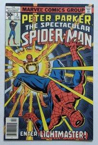 Spectacular Spider-Man #3 (Feb 1977, Marvel) VF- 7.5 1st appearance Lightmaster
