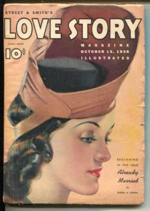 Love Story 10/15/1938-pin-up girl portrait cover-pulp stories-Vivian Grey-Gra...