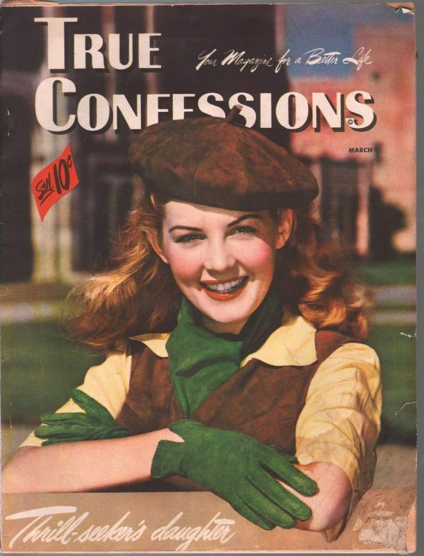 True Confessions 3/1947-Fawcett-Barbara Bates cover-spicy romance-classic ads-VG