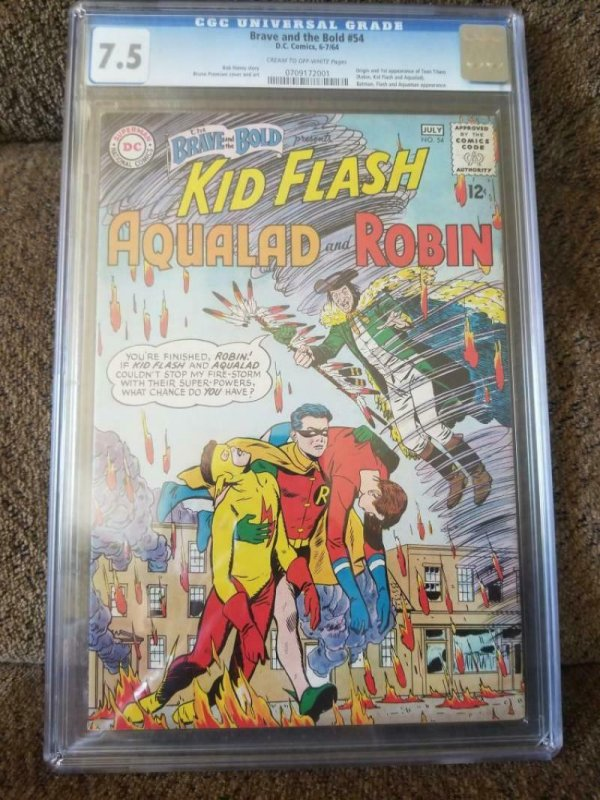 BRAVE and the BOLD #54, CGC = 7.5, VF-, 1st Teen Titans, 1964, older CGC label