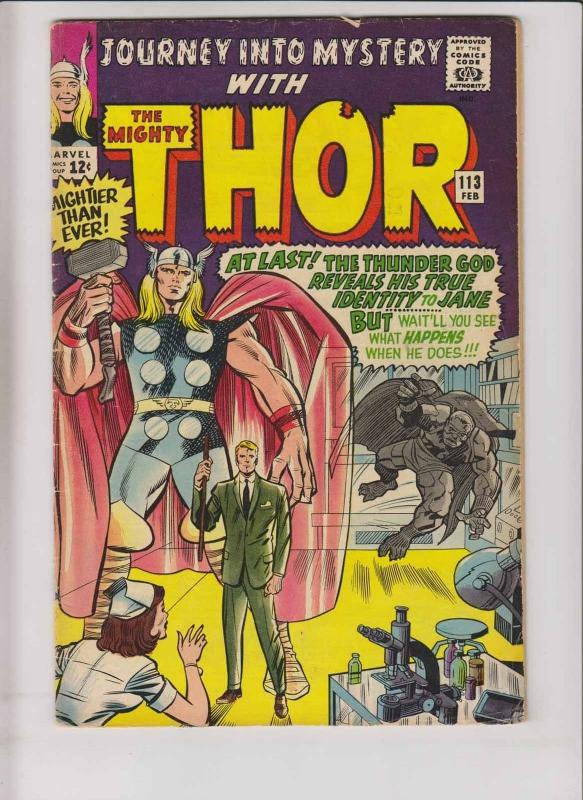 Journey Into Mystery #113 VG- thor - first appearance grey gargoyle - jack kirby