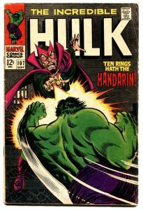 INCREDIBLE HULK #107 comic book 1968-NICK FURY-MANDARIN-FLYING SAUCER- VG