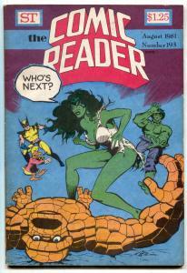 Comic Reader #193 1981- She Hulk- Fandom- Mignola VG
