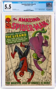 The Amazing Spider-Man #6 (1963) CGC Graded 5.5 Origin and first appearance o...