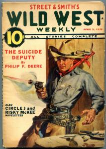 Wild West Weekly Pulp April 9 1938- Suicide Deputy VG