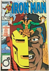 INVINCIBLE IRON MAN#195 VF/NM 1985 MARVEL COMICS Rhodes