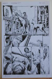 TIMOTHY TRUMAN original art, HAWKEN #3, Pg #1, 3 Legged Dog, 11x17, 2011