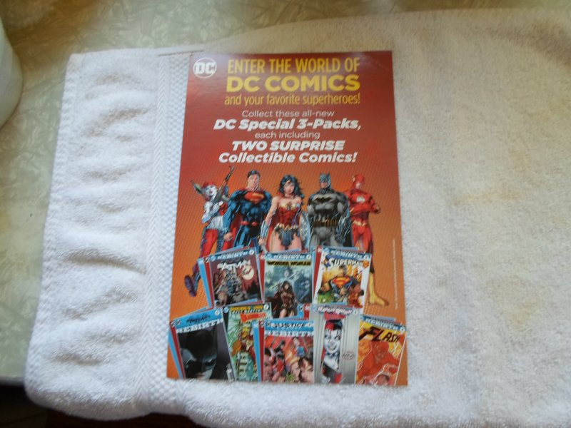 ENTER THE WORLD OF DC COMICS & YOUR FAVORITE SUPERHEROES CARBOARD AD.