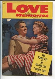 Love Memories #1 1949-Fawcett-1st issue-photo cover-soda shop-VG/FN