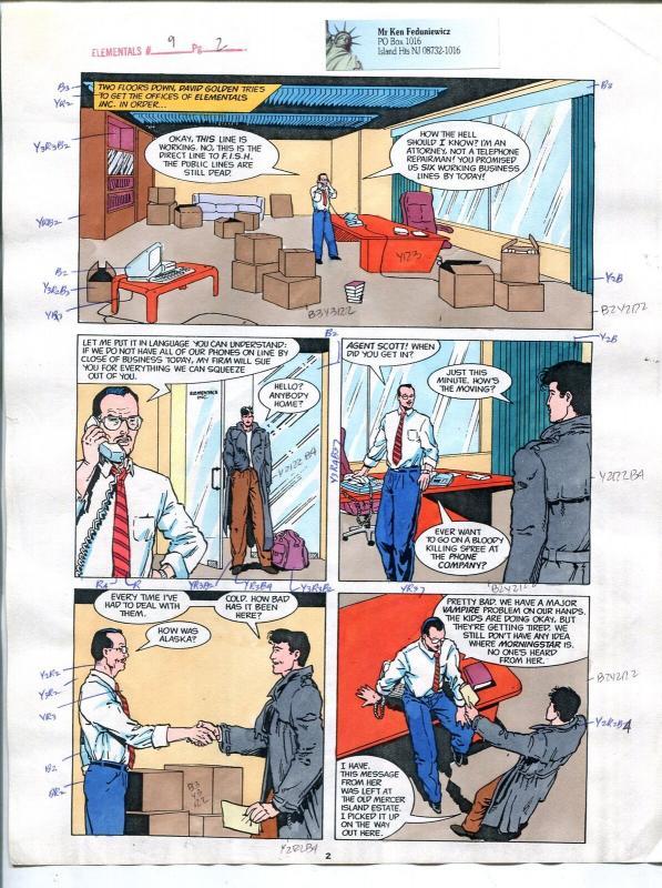 Elementals #9 Page #2 Original Color Guide Ken Feduniewicz