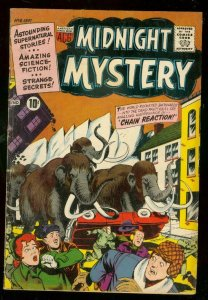 MIDNIGHT MYSTERY #6 1961-WOOLY MAMMOTH COVER-TIGER HORR VG