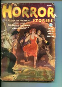 HORROR STORIES-08/1935-PULP-WEIRD MENACE-VIOLENCE-TERROR-CAVE-RARE-fr/good