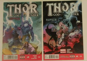 Thor God of Thunder #9A & #10A Godbomb parts 3 & 4!, Ribic Variant High grades