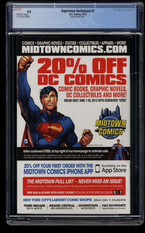 Superman Unchained #1 CGC NM/M 9.8 White Pages Booth Variant Cover!