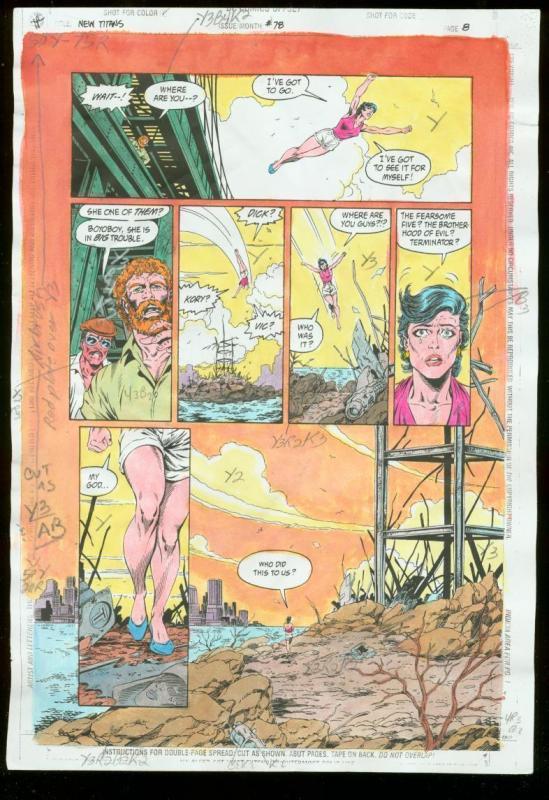 NEW TITANS #78 PRODUCTION ART DC COLOR GUIDE