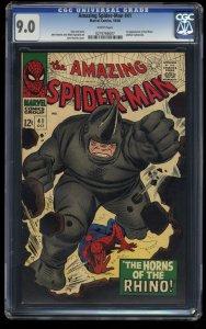 Amazing Spider-Man #41 CGC VF/NM 9.0 White Pages 1st Rhino!