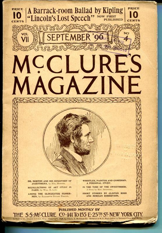 McClures  Magazine 9/1896-pulp forerunner-Abe Lincoln-uniqueads-FN