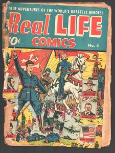 Real Life #4 1942-War issue-bloody swastika cover-Hitlerr-RCMP-Story of Old G...