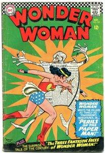 Wonder Woman #165 1966-Paper Man- DC Silver Age VG