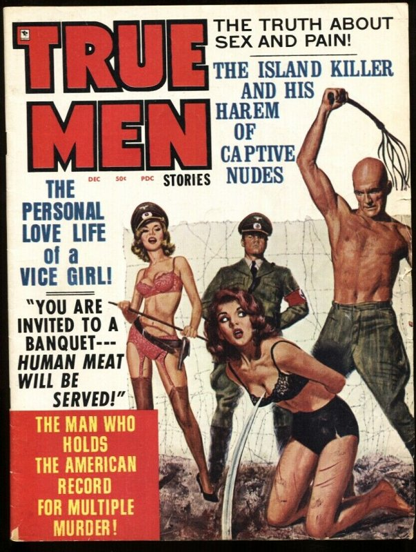 True Men Dec 1972 Lingerie NAZI whipping cover-Pulp mag