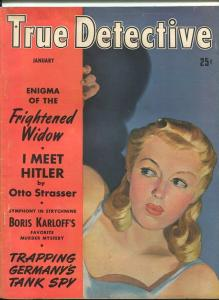 TRUE DETECTIVE JAN 1942-VG-PULP-BORIS KARLOFF-HITLER-HORSE RACING VG