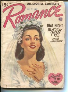 Romance 9/1946-Popular-bridal pin-up girl portrait cover-pulp romance-Velda J...