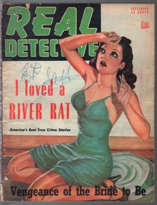 Real Detective-9/1947-violent-lurid pulp thrills-pin-up girl socking cover-G/VG