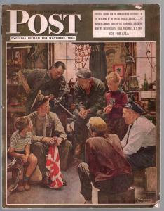 Saturday Evening Post 11/1945-overseas edition-Norman Rockwell-VG