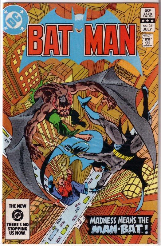 Batman   vol. 1   #361 FN 1st Harvey Bullock, Moench/Newton, Man-Bat
