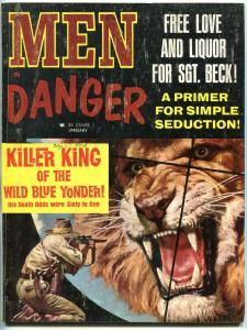 Men In Danger Magazine January 1965-Blaze Starr-Capuchin Monastery- Billy Barker