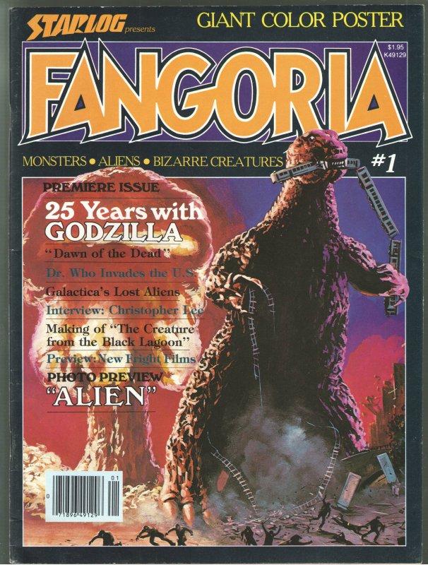 FANGORIA #1;WITH POSTER!!!!! VF-7.5 GODZILLA CVR! SHARP!