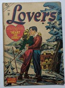 Lovers #57 (Jan 1954, Atlas) VG- 3.5 Al Hartley cover Joe Maneely Syd Shores art