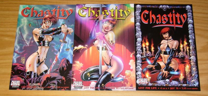 Chastity: Lust For Life #1-3 VF/NM complete series - chaos comics bad girl set 2