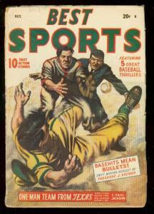 BEST SPORTS PULP OCT 1947-BASEBALL-BABE RUTH STORY ART VG
