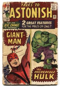 TALES TO ASTONISH #60 comic book-1964-HULK-KIRBY-SILVER AGE-MARVEL-g-