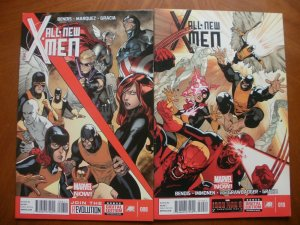 2 Near-Mint Marvel Comic: ALL-NEW X-MEN #8 #10 (2013) Bendis Marquez Gracia Von